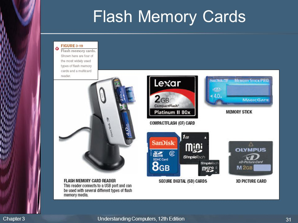 Chapter 3 Understanding Computers, 12th Edition 31 Flash Memory Cards