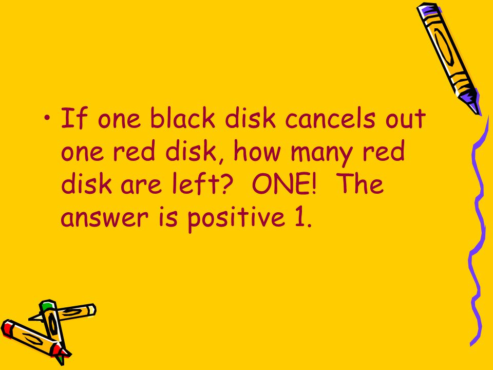 If one black disk cancels out one red disk, how many red disk are left? ONE! The answer is positive 1.