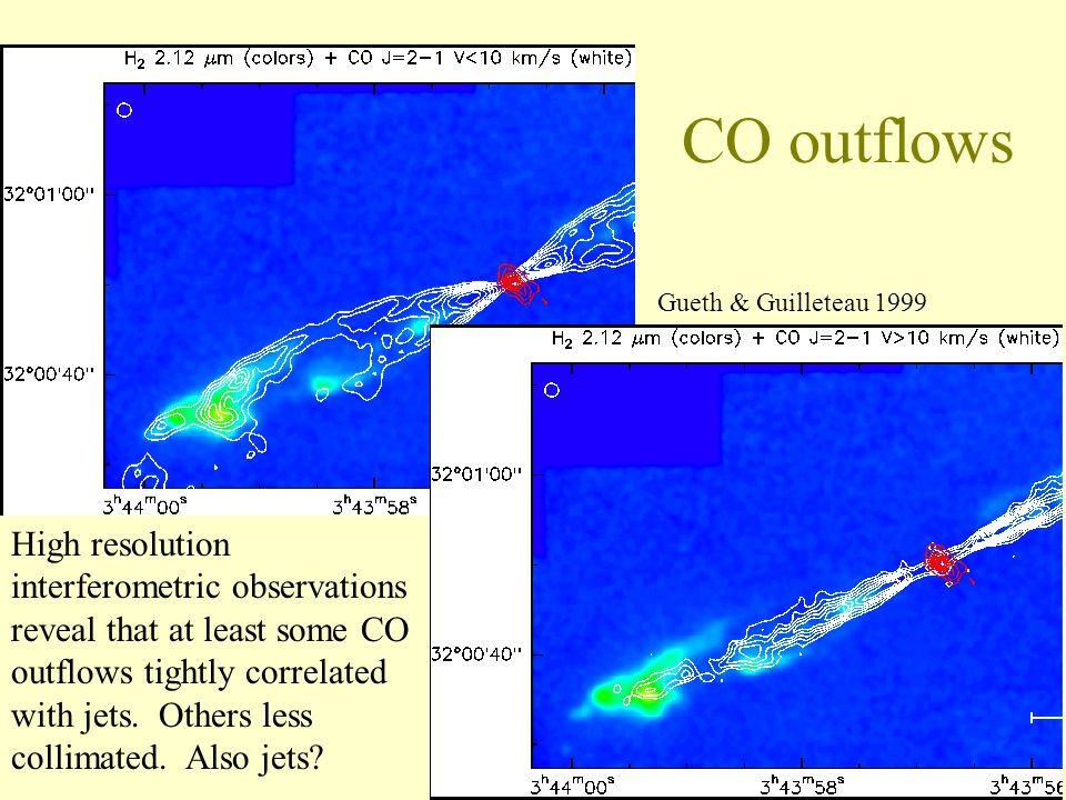 CO outflows High resolution interferometric observations reveal that at least some CO outflows tightly correlated with jets.