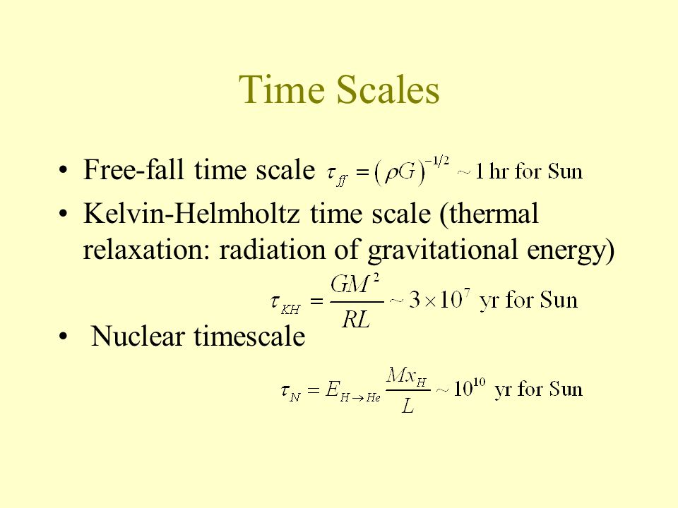 Time Scales Free-fall time scale Kelvin-Helmholtz time scale (thermal relaxation: radiation of gravitational energy) Nuclear timescale