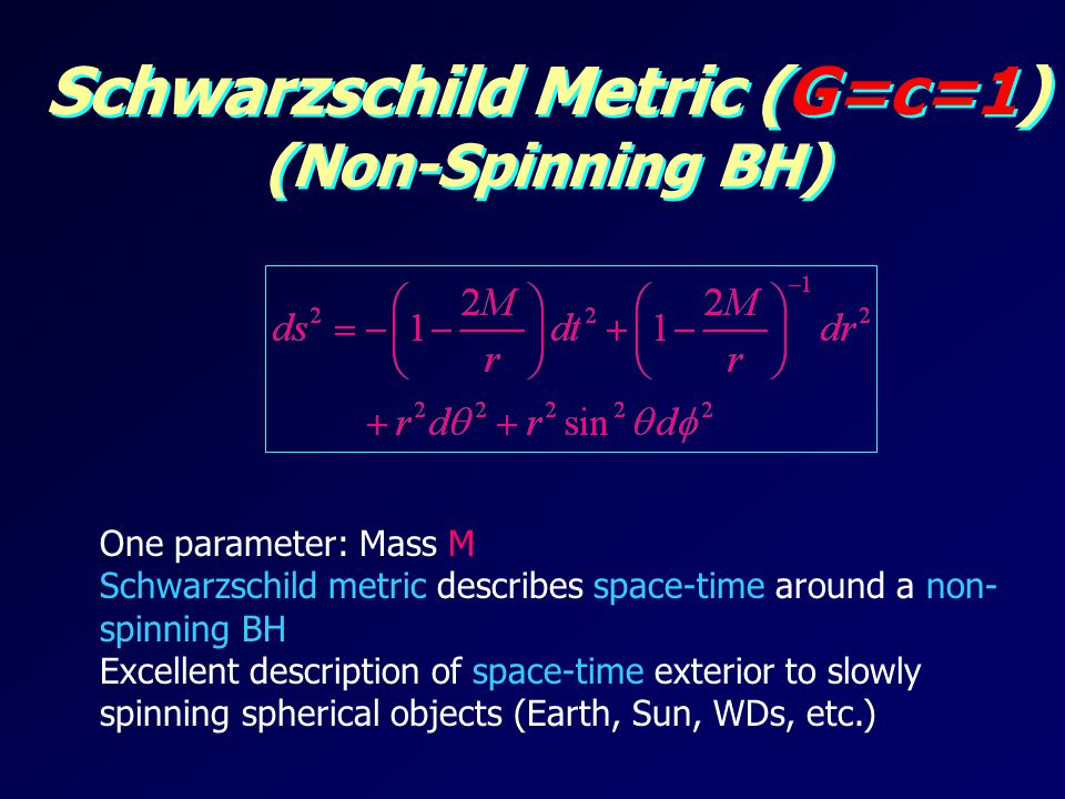 Schwarzschild Metric (G=c=1) (Non-Spinning BH) One parameter: Mass M Schwarzschild metric describes space-time around a non- spinning BH Excellent description of space-time exterior to slowly spinning spherical objects (Earth, Sun, WDs, etc.)