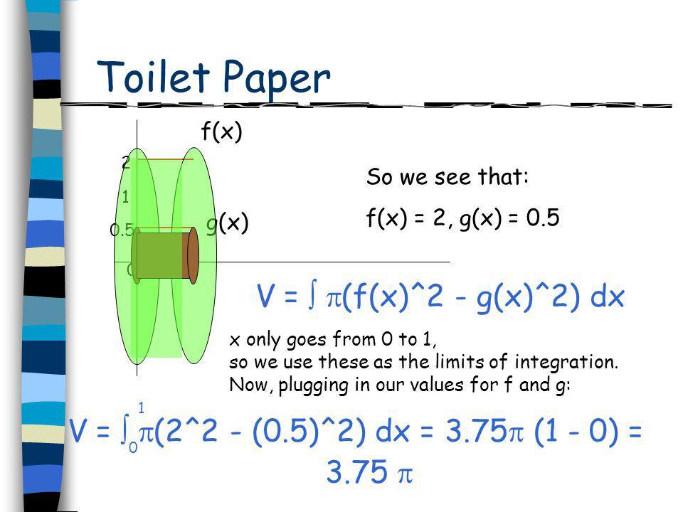 Toilet Paper f(x) g(x) 1 2 0.5 1 So we see that: f(x) = 2, g(x) = 0.5 0 V = (f(x)^2 - g(x)^2) dx x only goes from 0 to 1, so we use these as the limit