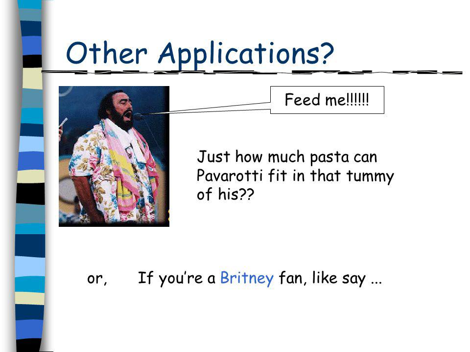 Other Applications. Just how much pasta can Pavarotti fit in that tummy of his?.