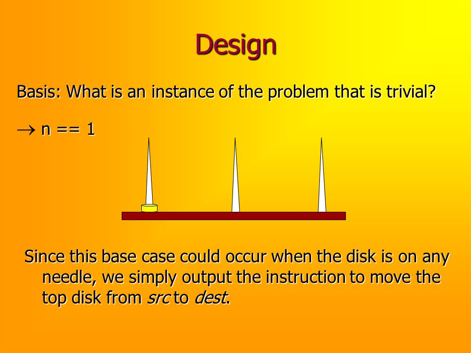 Design Basis: What is an instance of the problem that is trivial? n == 1 n == 1 Since this base case could occur when the disk is on any needle, we si