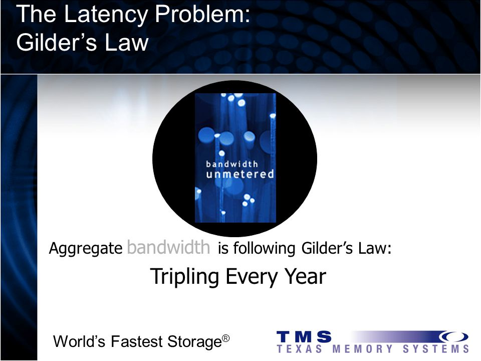 Worlds Fastest Storage ® Aggregate bandwidth is following Gilders Law: Tripling Every Year The Latency Problem: Gilders Law