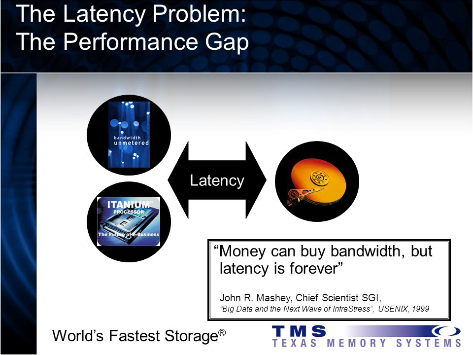 Worlds Fastest Storage ® Money can buy bandwidth, but latency is forever John R.