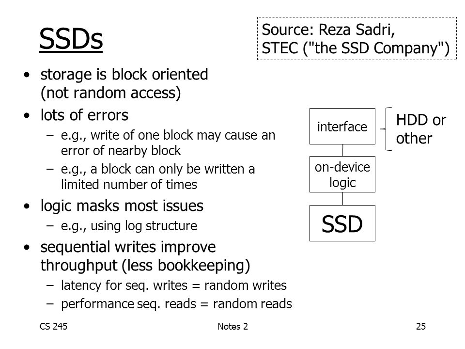 SSDs storage is block oriented (not random access) lots of errors –e.g., write of one block may cause an error of nearby block –e.g., a block can only