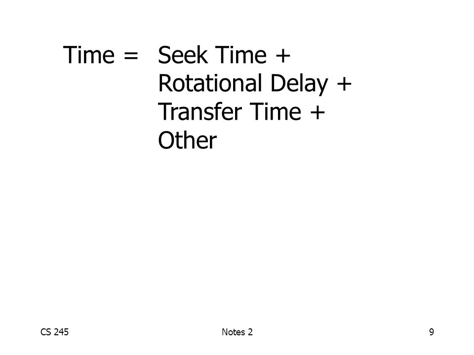 CS 245Notes 29 Time = Seek Time + Rotational Delay + Transfer Time + Other