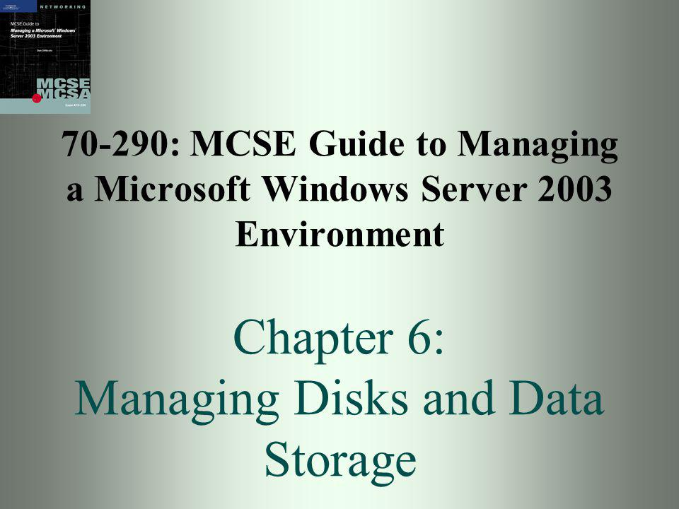 70-290: MCSE Guide to Managing a Microsoft Windows Server 2003 Environment 32 Mirrored Volume (RAID 1) Creates a copy of data on a backup disk Requires 2 disks Highly effective fault tolerance since a complete copy of data is available Disk read performance is equal to non-mirrored Disk write time is doubled Created through New Volume Wizard