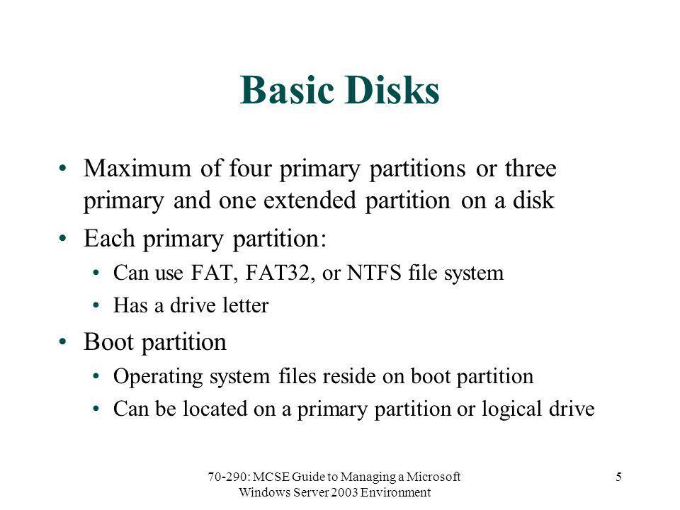 70-290: MCSE Guide to Managing a Microsoft Windows Server 2003 Environment 36 RAID-5 Volume (continued)