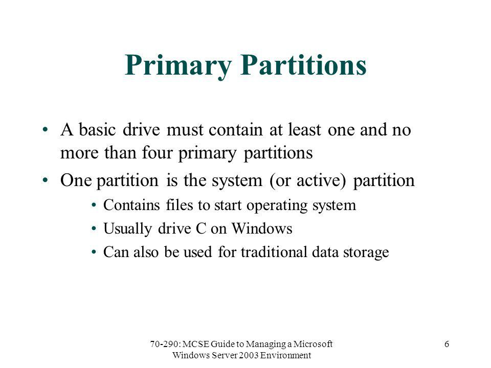 70-290: MCSE Guide to Managing a Microsoft Windows Server 2003 Environment 27 Fault Tolerant Disk Strategies Fault tolerance The ability to recover gracefully from hardware or software failure Hard disks do fail periodically Software RAID provides various levels of fault tolerance A combination of RAID and backup can minimize disruption and loss of data