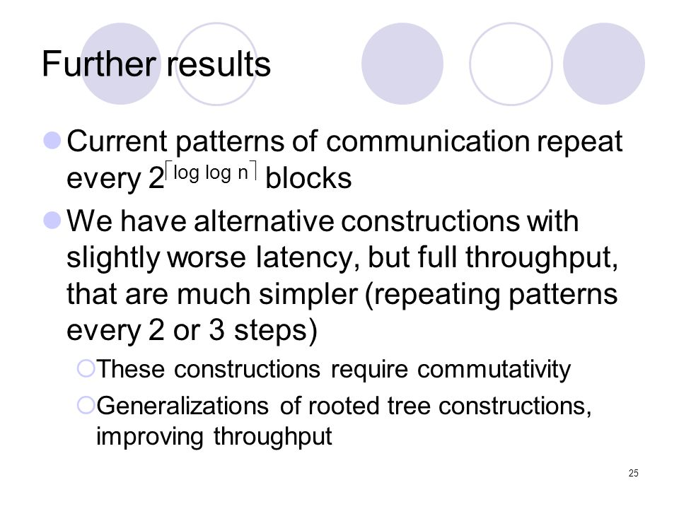 25 Further results Current patterns of communication repeat every 2 log log n blocks We have alternative constructions with slightly worse latency, but full throughput, that are much simpler (repeating patterns every 2 or 3 steps) These constructions require commutativity Generalizations of rooted tree constructions, improving throughput