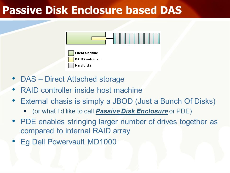 Passive Disk Enclosure based DAS DAS – Direct Attached storage RAID controller inside host machine External chasis is simply a JBOD (Just a Bunch Of Disks) (or what Id like to call Passive Disk Enclosure or PDE) PDE enables stringing larger number of drives together as compared to internal RAID array Eg Dell Powervault MD1000