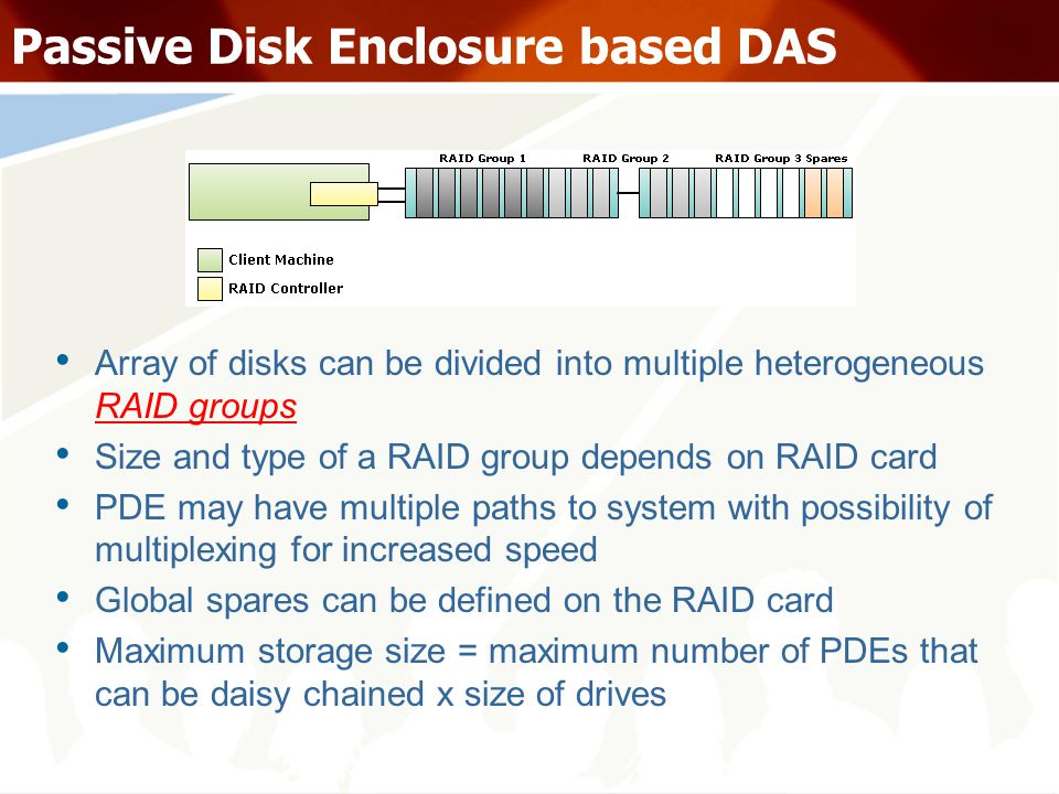 Passive Disk Enclosure based DAS Array of disks can be divided into multiple heterogeneous RAID groups Size and type of a RAID group depends on RAID card PDE may have multiple paths to system with possibility of multiplexing for increased speed Global spares can be defined on the RAID card Maximum storage size = maximum number of PDEs that can be daisy chained x size of drives