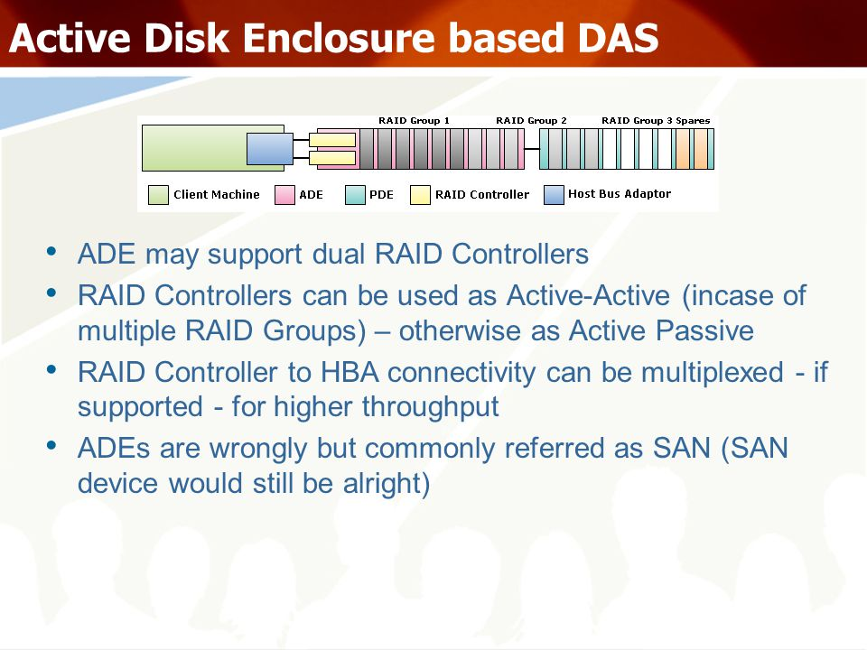Active Disk Enclosure based DAS ADE may support dual RAID Controllers RAID Controllers can be used as Active-Active (incase of multiple RAID Groups) – otherwise as Active Passive RAID Controller to HBA connectivity can be multiplexed - if supported - for higher throughput ADEs are wrongly but commonly referred as SAN (SAN device would still be alright)