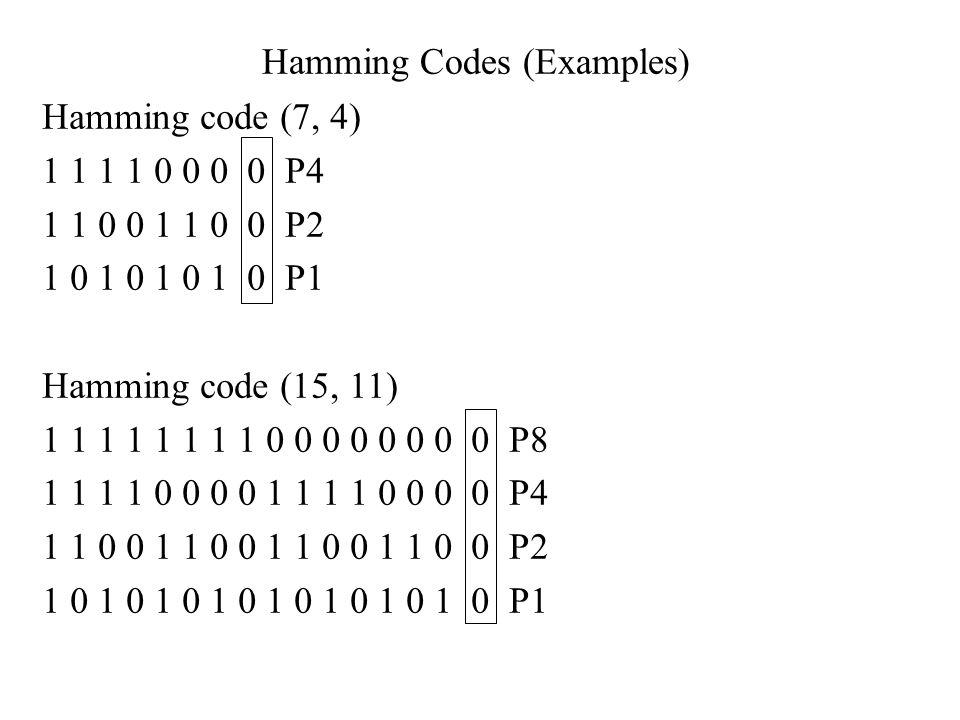 Hamming Codes (Examples) Hamming code (7, 4) 1 1 1 1 0 0 0 0 P4 1 1 0 0 1 1 0 0 P2 1 0 1 0 1 0 1 0 P1 Hamming code (15, 11) 1 1 1 1 1 1 1 1 0 0 0 0 0