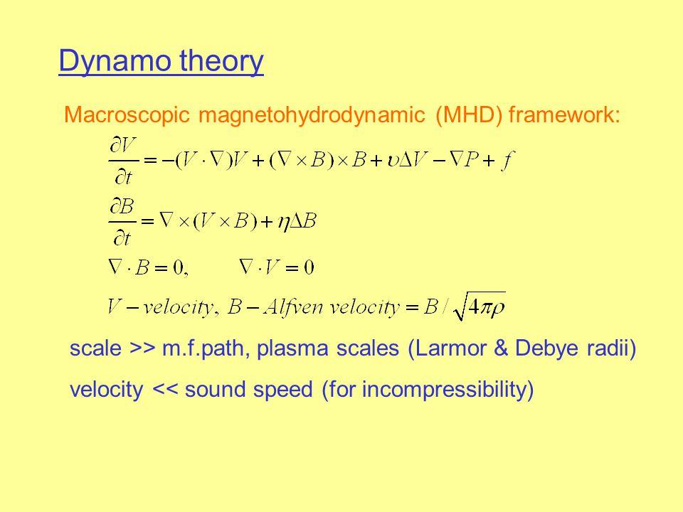 Macroscopic magnetohydrodynamic (MHD) framework: scale >> m.f.path, plasma scales (Larmor & Debye radii) velocity << sound speed (for incompressibilit