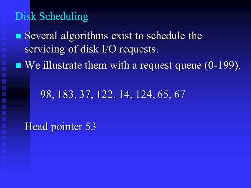 Disk Scheduling Several algorithms exist to schedule the servicing of disk I/O requests.