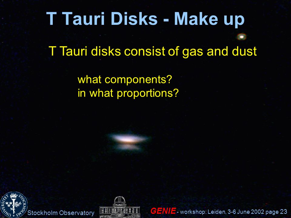 Stockholm Observatory GENIE - workshop: Leiden, 3-6 June 2002 page 23 T Tauri Disks - Make up T Tauri disks consist of gas and dust what components.