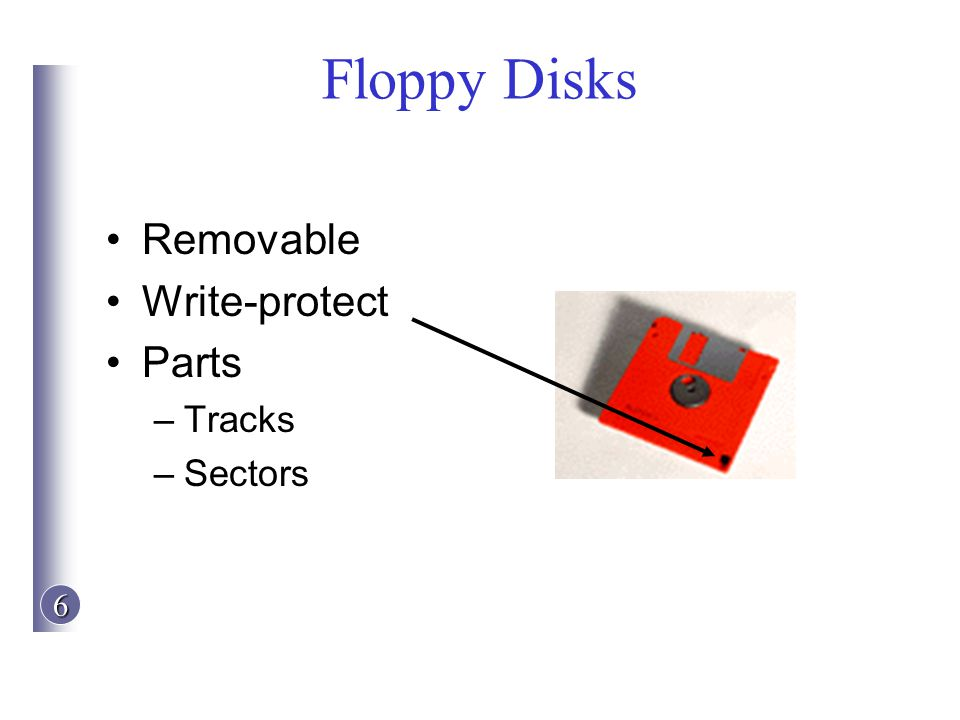 6 Floppy Disks Removable Write-protect Parts –Tracks –Sectors