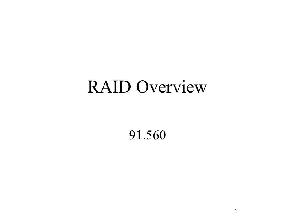 1 RAID Overview 91.560