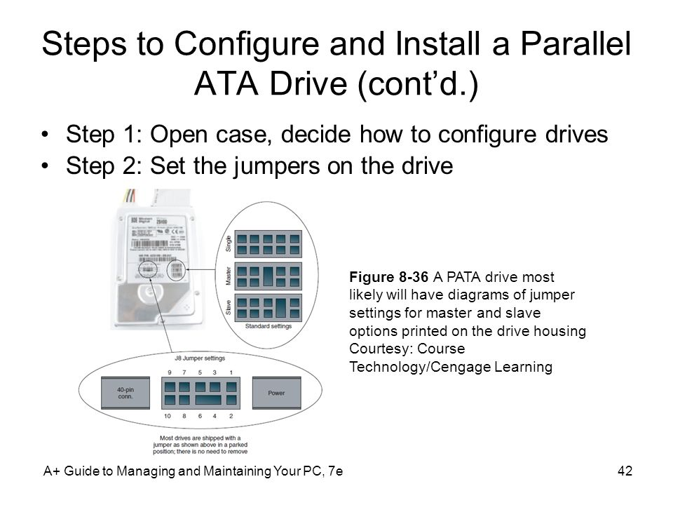 A+ Guide to Managing and Maintaining Your PC, 7e42 Steps to Configure and Install a Parallel ATA Drive (contd.) Step 1: Open case, decide how to confi