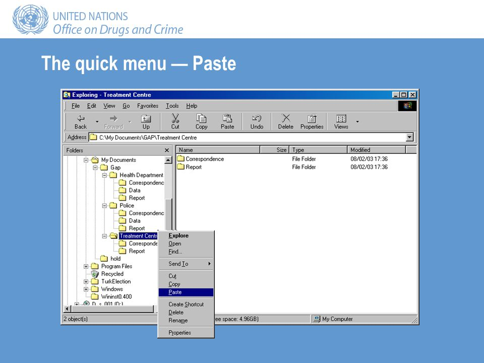The quick menu Paste