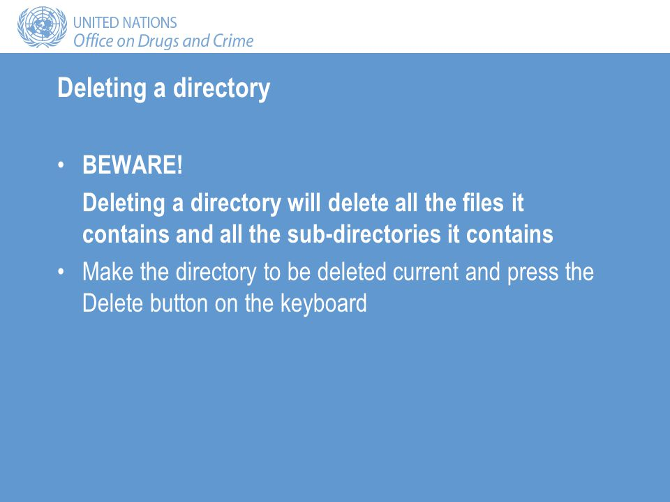Deleting a directory BEWARE.