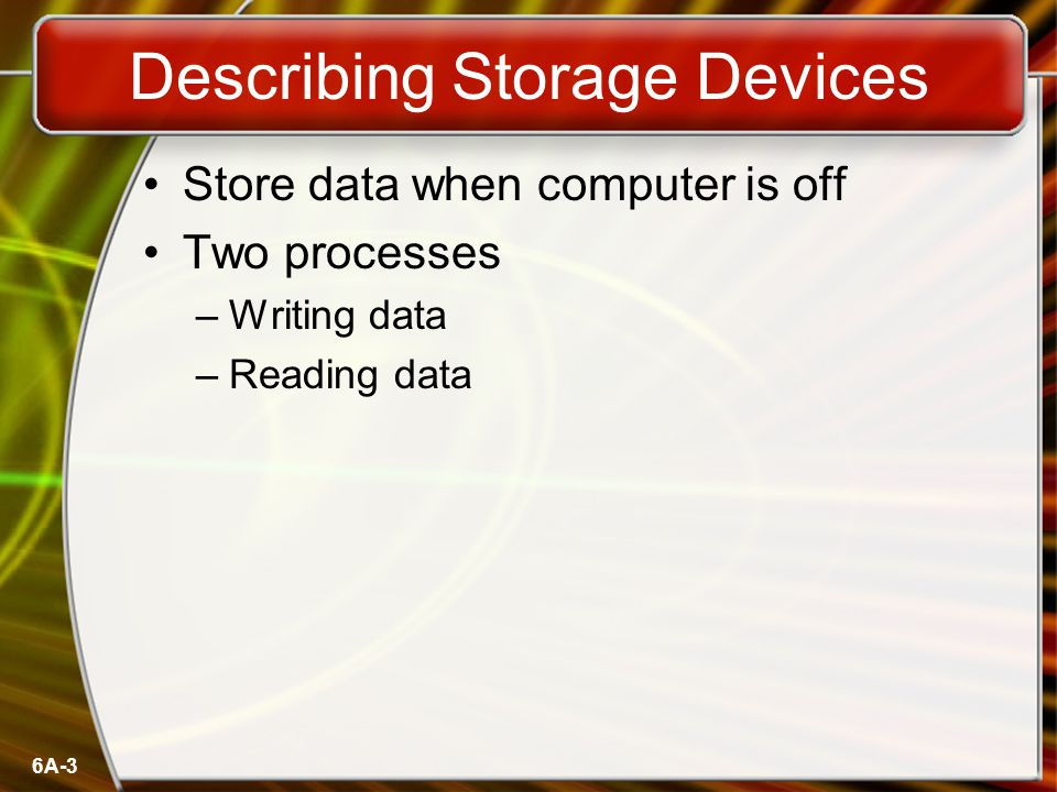 6A-24 Solid State Devices Data is stored physically No magnets or laser Very fast