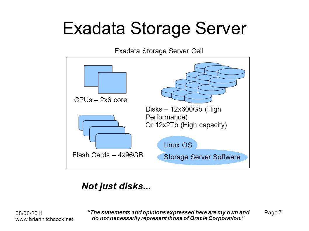 Exadata Storage Server 05/06/2011 www.brianhitchcock.net The statements and opinions expressed here are my own and do not necessarily represent those of Oracle Corporation.