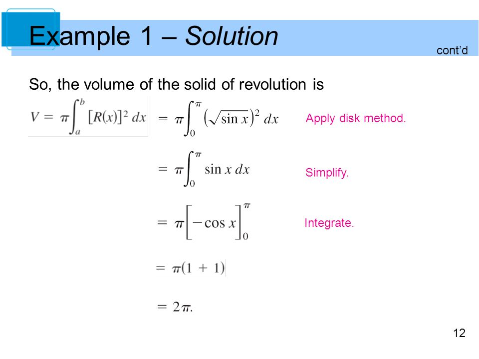 12 Example 1 – Solution So, the volume of the solid of revolution is Apply disk method. Simplify. Integrate. contd