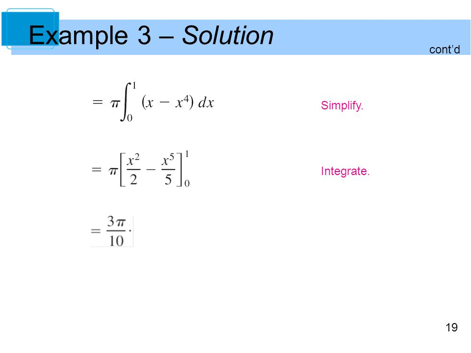 19 Example 3 – Solution Simplify. Integrate. contd