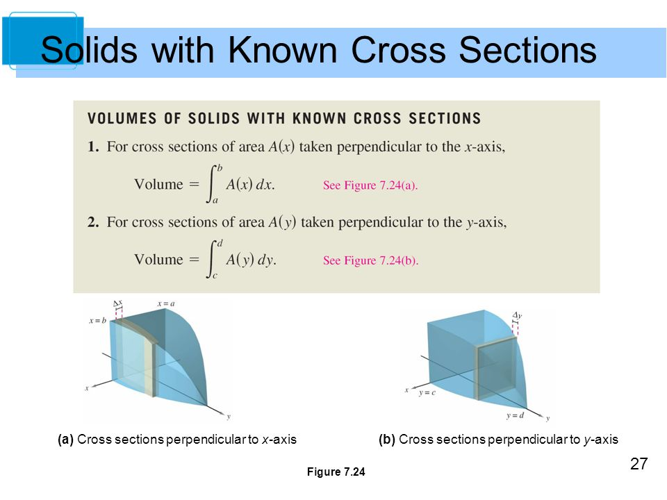 27 Solids with Known Cross Sections Figure 7.24 (a) Cross sections perpendicular to x-axis(b) Cross sections perpendicular to y-axis