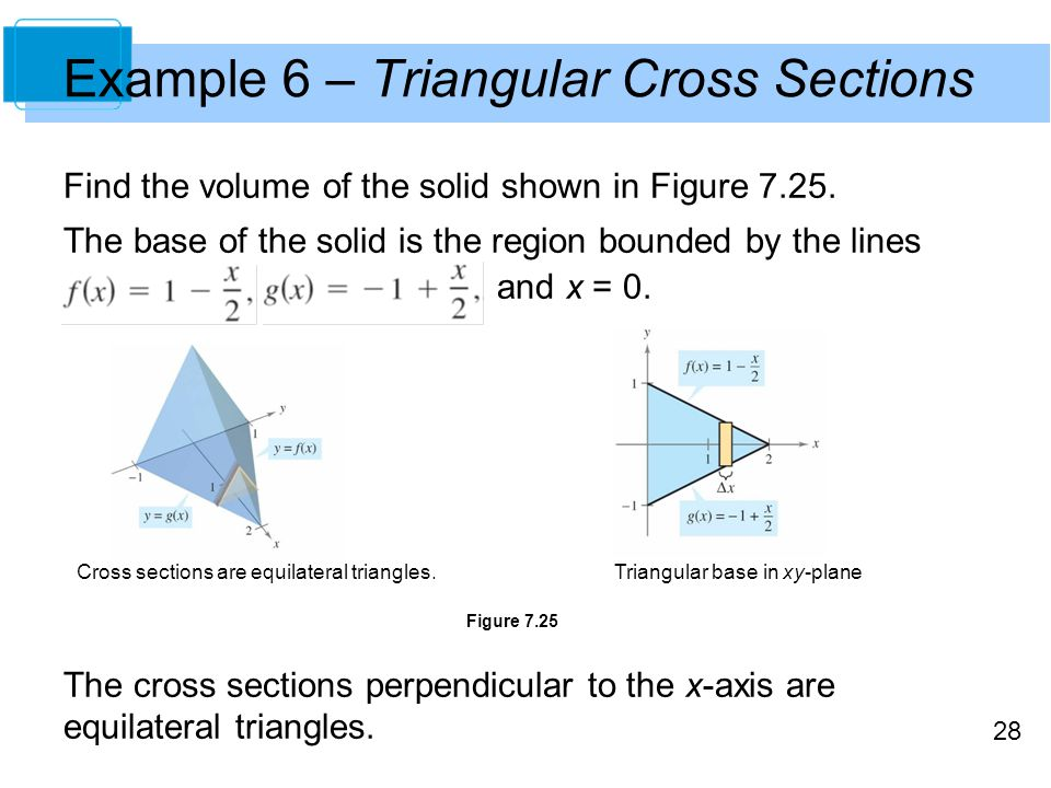 28 Example 6 – Triangular Cross Sections Find the volume of the solid shown in Figure 7.25. The base of the solid is the region bounded by the lines a