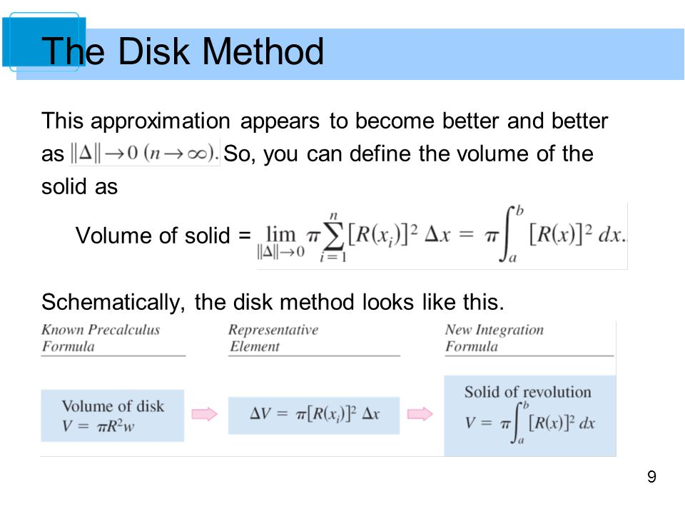9 This approximation appears to become better and better as So, you can define the volume of the solid as Volume of solid = Schematically, the disk me