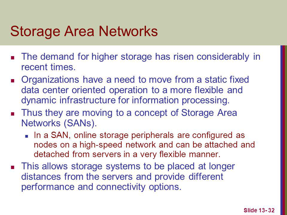 Slide 13- 32 Storage Area Networks The demand for higher storage has risen considerably in recent times. Organizations have a need to move from a stat