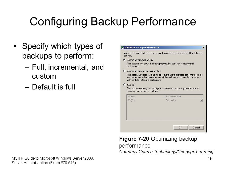 Configuring Backup Performance Specify which types of backups to perform: –Full, incremental, and custom –Default is full MCITP Guide to Microsoft Windows Server 2008, Server Administration (Exam #70-646) 45 Figure 7-20 Optimizing backup performance Courtesy Course Technology/Cengage Learning