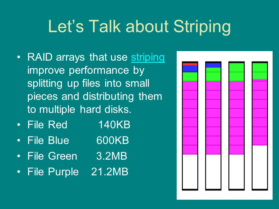 Two Basic Types of Striping Striping is available in two forms: – Single-user also called large block sequential access – Multi-user sometimes called small block random access Single-user striping improves performance by parallel data transfer Multi-user striping improves performance by overlapped seeks