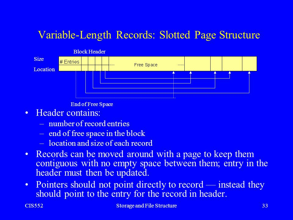 CIS552Storage and File Structure33 Variable-Length Records: Slotted Page Structure Header contains: –number of record entries –end of free space in th