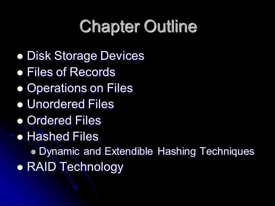 Chapter Outline Disk Storage Devices Disk Storage Devices Files of Records Files of Records Operations on Files Operations on Files Unordered Files Un