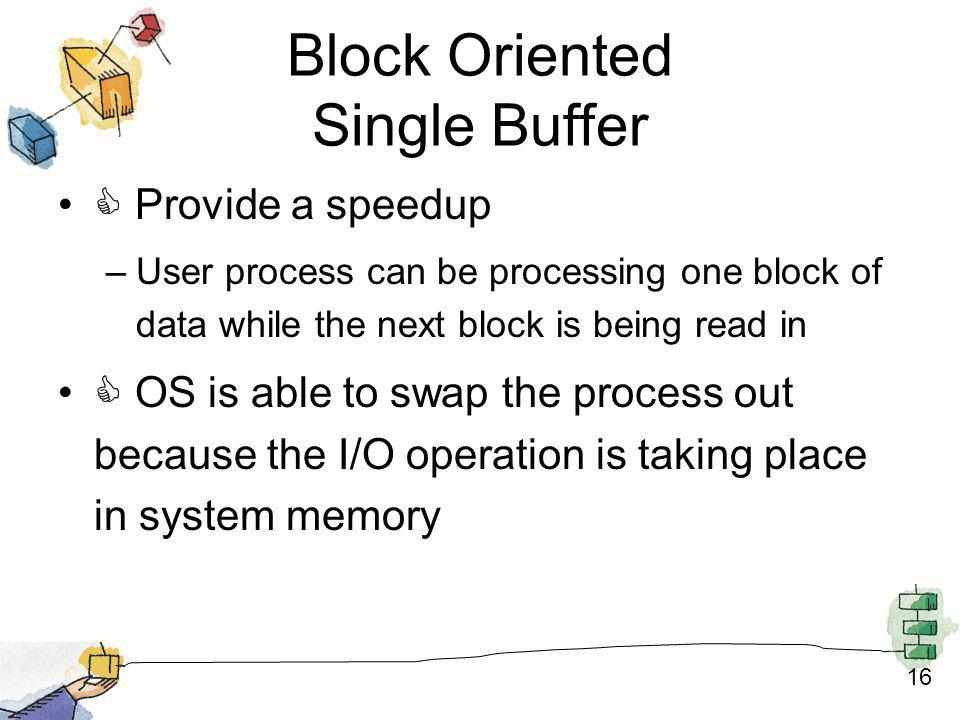 16 Block Oriented Single Buffer Provide a speedup –User process can be processing one block of data while the next block is being read in OS is able t