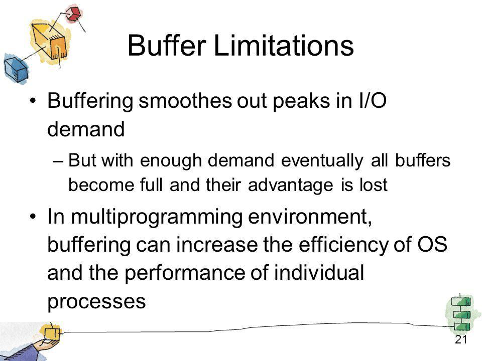 21 Buffer Limitations Buffering smoothes out peaks in I/O demand –But with enough demand eventually all buffers become full and their advantage is los