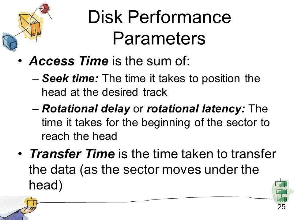 25 Disk Performance Parameters Access Time is the sum of: –Seek time: The time it takes to position the head at the desired track –Rotational delay or