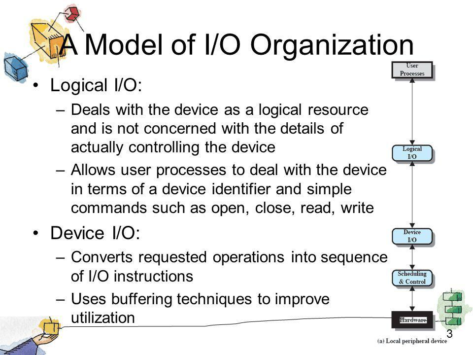 4 A Model of I/O Organization Scheduling and Control: –Performs actual queuing / scheduling and control operations –Handles interrupts and collects and reports I/O status –Interacts with the I/O module and hence the device hardware
