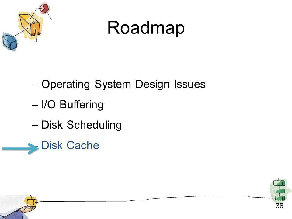 38 Roadmap –Operating System Design Issues –I/O Buffering –Disk Scheduling –Disk Cache
