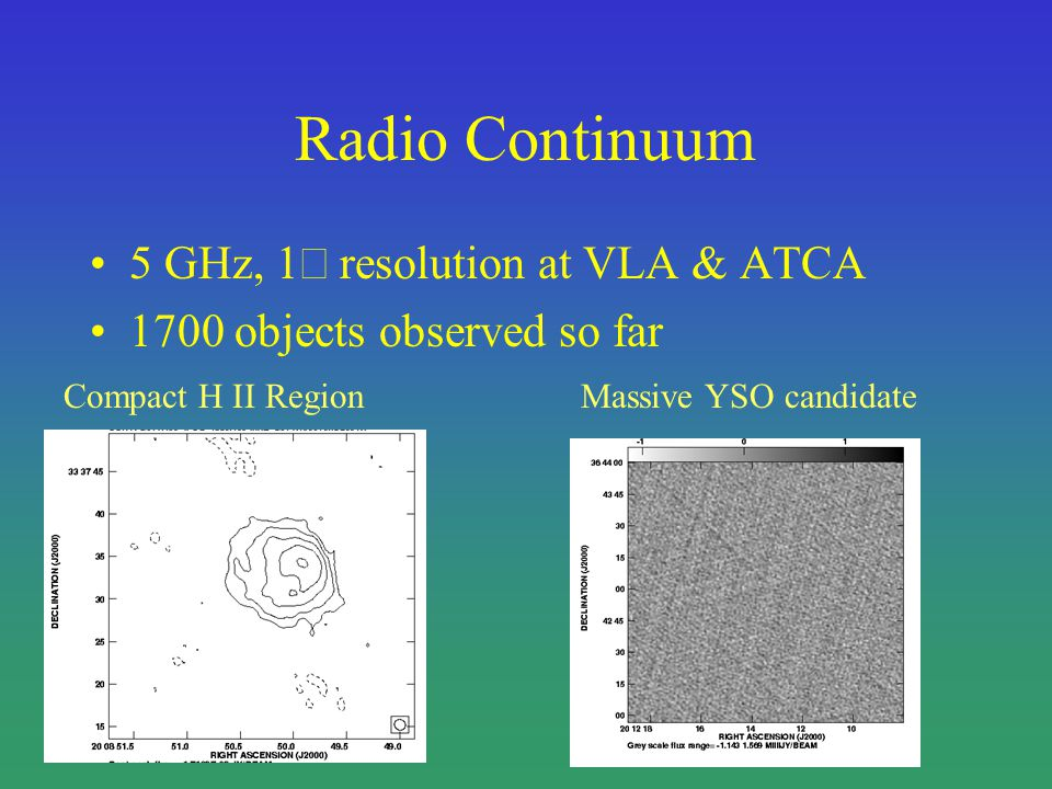 Radio Continuum 5 GHz, 1 resolution at VLA & ATCA 1700 objects observed so far Compact H II RegionMassive YSO candidate