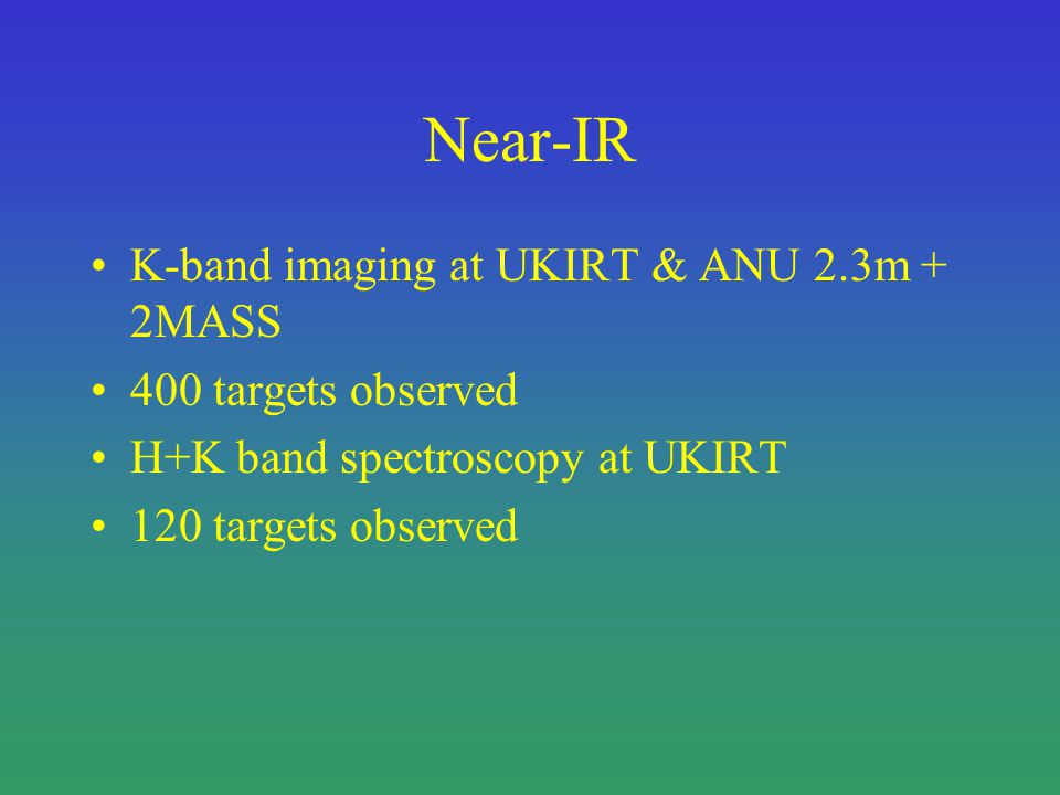 Near-IR K-band imaging at UKIRT & ANU 2.3m + 2MASS 400 targets observed H+K band spectroscopy at UKIRT 120 targets observed