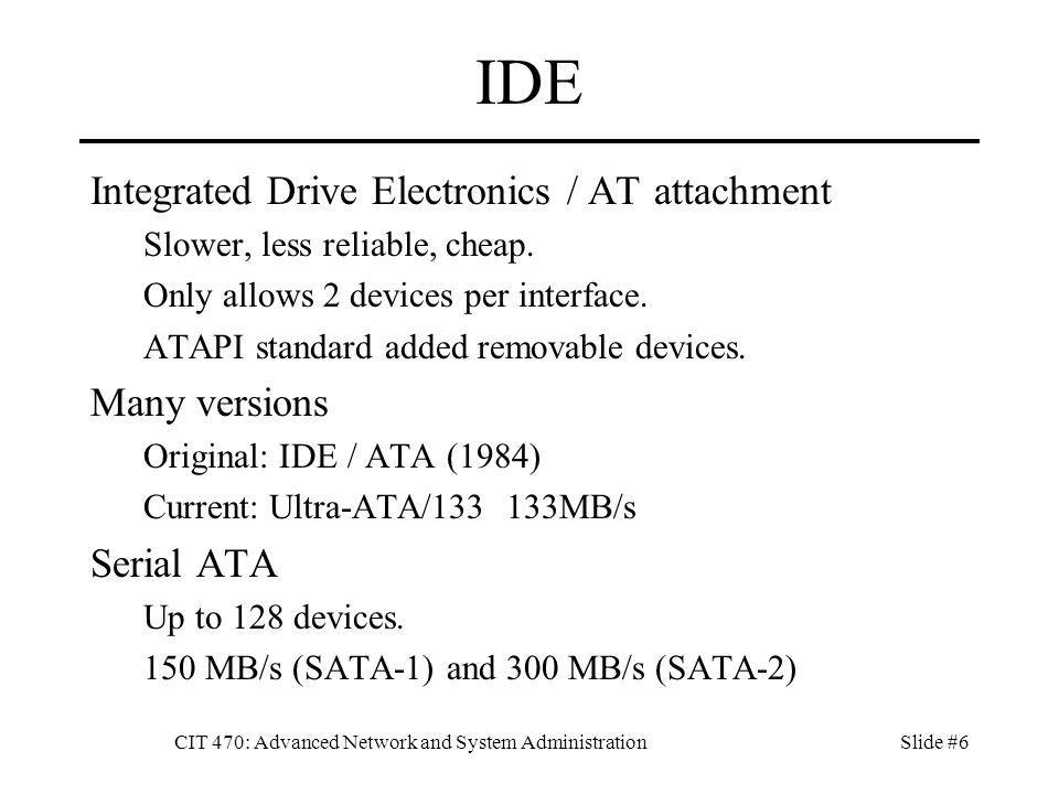 CIT 470: Advanced Network and System AdministrationSlide #47 Mounting To use a filesystem mount /dev/sda1 /mnt df /mnt Automatic mounting Add an entry in /etc/fstab Unmount umount /dev/sda1 Cannot unmount a volume in use.
