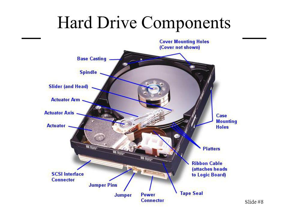 CIT 470: Advanced Network and System AdministrationSlide #9 Hard Drive Components Actuator Moves arm across disk to read/write data.