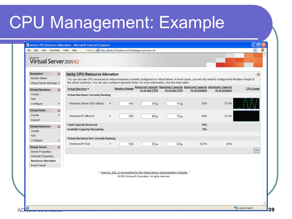 ADNUG: 03/04/200639 CPU Management: Example